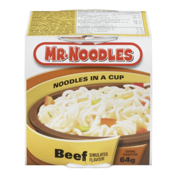 MR. NOODLE INSTANT CUP BEEF...