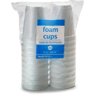 WF 12OZ FOAM CUPS - 20 Pack