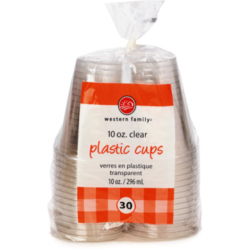 WF 10OZ CUPS CLEAR PLASTIC
